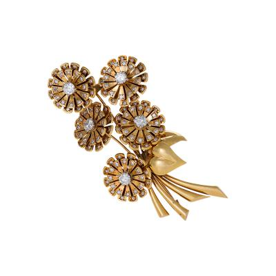 Van Cleef Arpels Van Cleef Arpels Paris Retro Diamond and Gold Bouquet Brooch