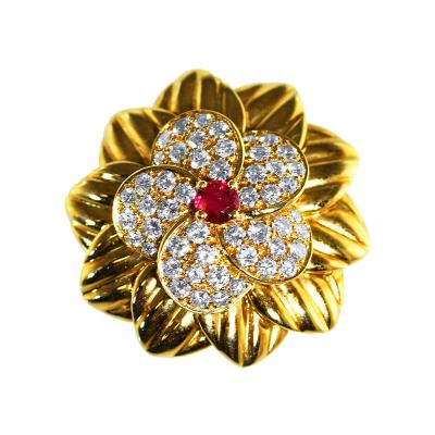 Van Cleef Arpels Van Cleef Arpels Ruby Diamond Gold Brooch