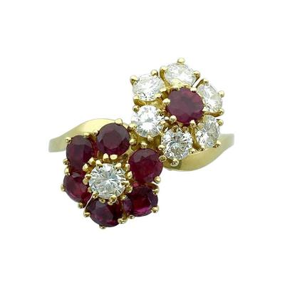 Van Cleef Arpels Van Cleef Arpels Ruby Diamond Yellow Gold Flower Ring