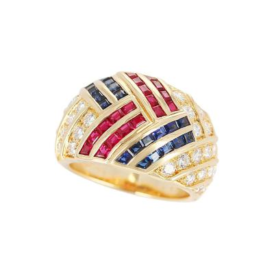 Van Cleef Arpels Van Cleef Arpels Ruby Sapphire and Diamond Cocktail Ring 18 Karat Gold