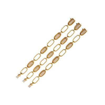 Van Cleef Arpels Van Cleef Arpels Set of 3 Diamond and Gold Link Bracelets
