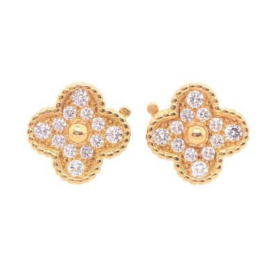 Van Cleef Arpels Van Cleef Arpels Vintage Alhambra Diamond Earrings Yellow Gold 24 Stones 98Ct