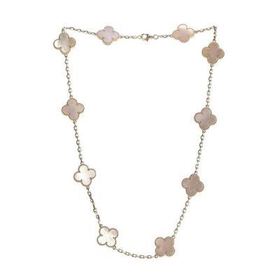 Van Cleef Arpels Van Cleef Arpels Vintage Alhambra Necklace 10 Mother Pearl Motifs White Gold