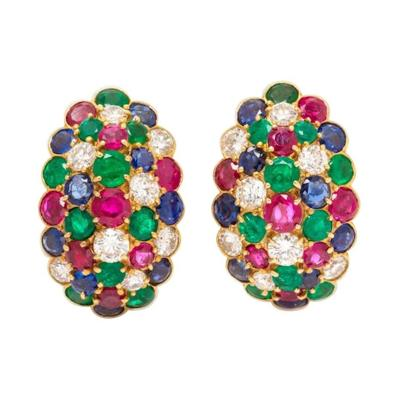 Van Cleef Arpels Van Cleef Arpels Yellow Gold Diamond Ruby Sapphire and Emerald Earclips