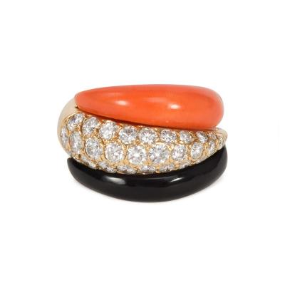 Van Cleef Arpels Van Cleef and Arpels 1960s Coral Onyx and Diamond Ring in 18k Gold