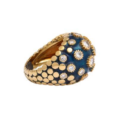 Van Cleef Arpels Vintage Van Cleef Bombe Enamel Ring With Diamond Florets