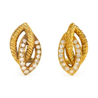 Van Cleef and Arpels 1950s Van Cleef Arpels Gold and Diamond Stylized Leaf Earrings
