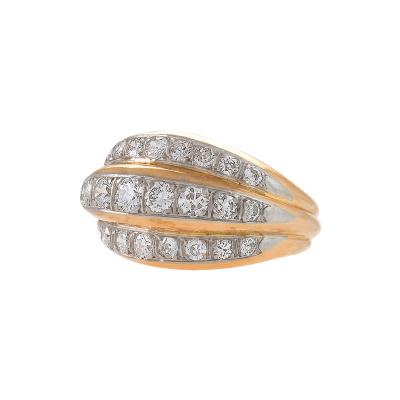 Van Cleef and Arpels French Gold and Platinum Ring with Diamonds by Van Cleef Arpels
