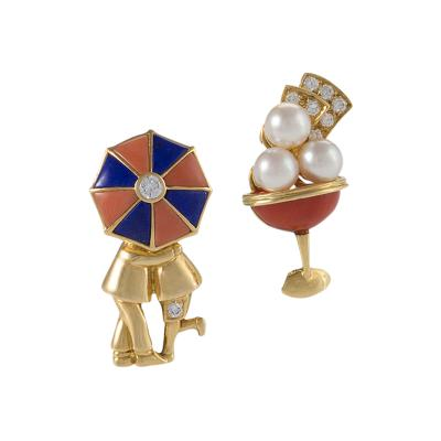 Van Cleef and Arpels Paris Diamond Pearl Enamel and Gold Champagne Glass and Couple Under an Umbrella