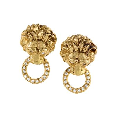 Van Cleef and Arpels Van Cleef Arpels Diamond and Gold Lion Head Door Knocker Earrings