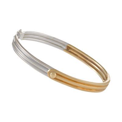 Van Cleef and Arpels Van Cleef Arpels Estate Yellow and White Gold Bangle Bracelet