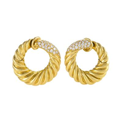 Van Cleef and Arpels Van Cleef Arpels Mid 20th Century Diamond and Gold Hoop Earrings