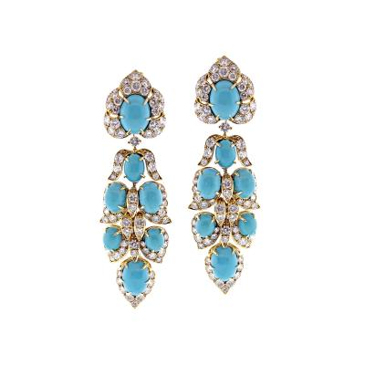 Van Cleef and Arpels Van Cleef Arpels Turquoise Diamond Drop Earrings