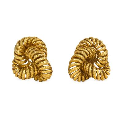 Van Cleef and Arpels Van Cleef and Arpels 1950s Textured Gold Knot Earrings