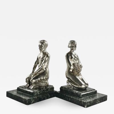 Vandaele Art Deco Bronze Bookends Lady and Faun Signed H Vandaele