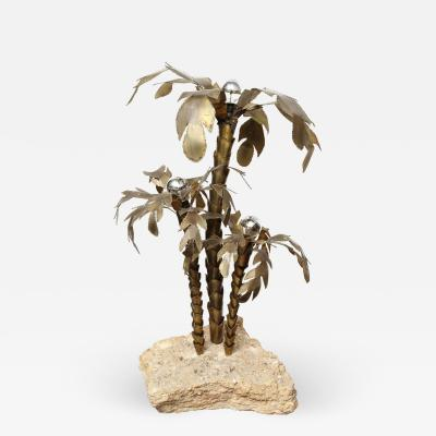 Venfield 1970s French Brutalist Palm Tree Lamp Table with Natural Stone Base