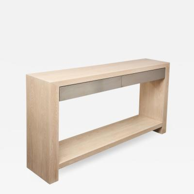 Venfield Bleached Oak Console with Brushed Stainless Steel Drawers