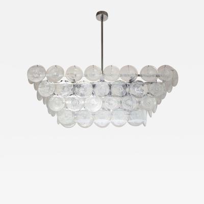 Venfield Clear Bubble Murano Glass Disc Chandelier in Rectangle Shape
