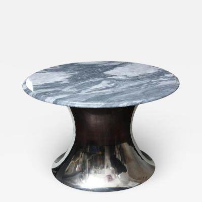 Venfield Cloud Gray Marble Coffee Table with Olpe Stainless Steel Base