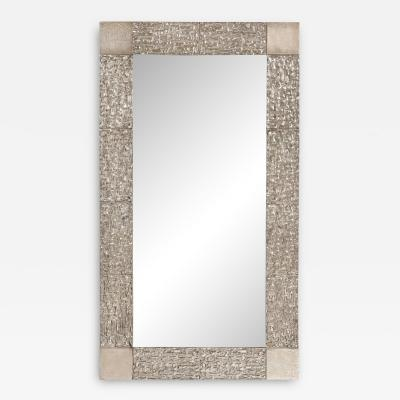 Venfield Custom Brutalist Mirror in the Manner of Luciano Frigerio in Brushed Nickel