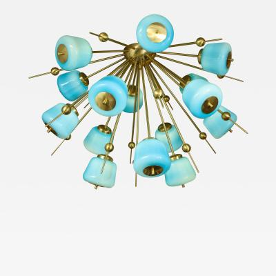 Venfield Custom Turquoise Milk Glass Flush Mount Chandelier in Polished Brass
