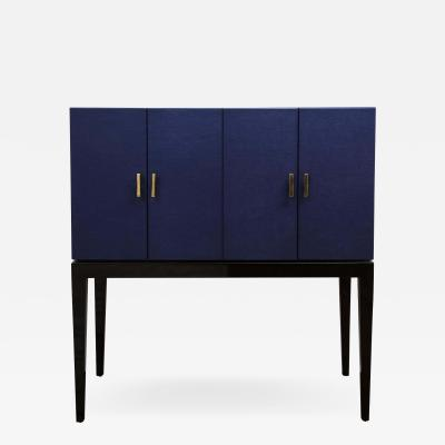Venfield Klein Blue Leather Bar Cabinet with Brass Handles