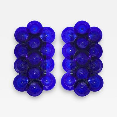 Venfield Pair of Cobalt Blue Murano Glass Disc Sconces
