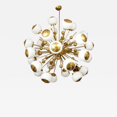 Venfield Stunning Large Milk Glass Globe Sputnik Chandelier with Spheres in Brass
