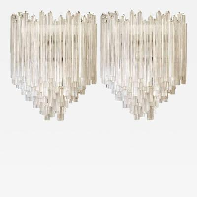 Venice Murano Co Large Pair of Venini Murano Glass Sconces