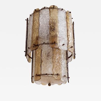 Venini 15 Corteccia Glass Pendants attributed to Venini