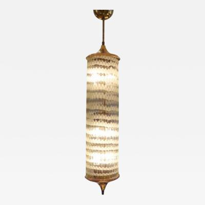 Venini A Hanging Lantern in Gilt Brass and Hand Blown Glass by Venini