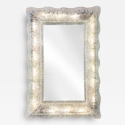 Venini A Murano Illuminated Textured Glass Framed Mirror
