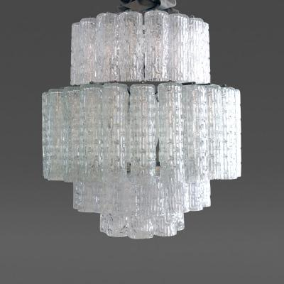 Venini A shimmering Italian 1970s Venini multiple tiered chandelier
