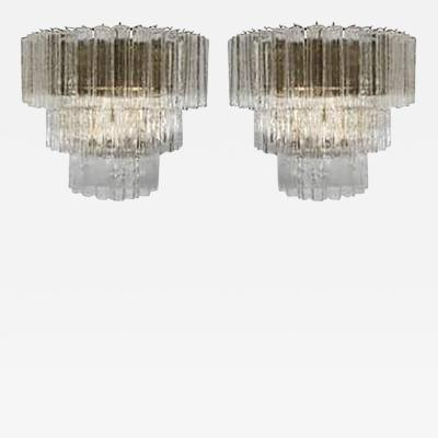 Venini Amazing Pair of Venini Monumental Triple Tier Tronchi Murano Glass Sconces