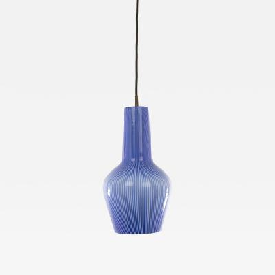 Venini Blue and white glass pendant by Massimo Vignelli for Venini 1950s