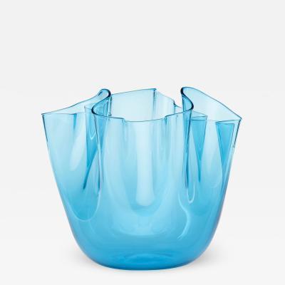 Venini CLEAR BLUE GLASS FAZZOLETTO VASE BY VENINI