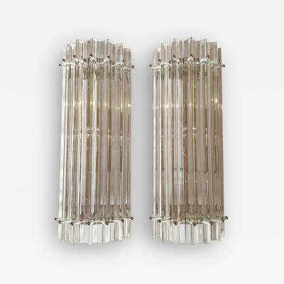 Venini Clear Murano glass Mid Century Modern geometric sconces by Venini Italy 1970s