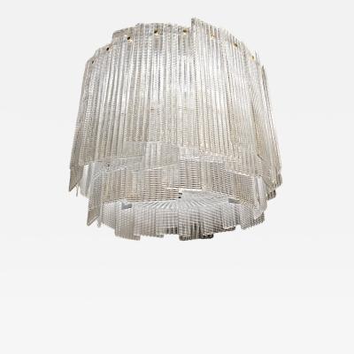 Venini Drum Chandelier Venini Attribution Murano Clear Glass circa 1980s