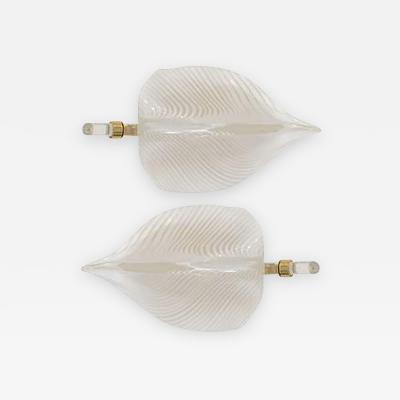 Venini Fantastic Pair of Modernistic Handblown Venini Murano Glass Leaf Sconces