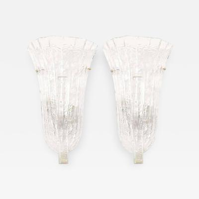 Venini Incredible Pair of Venini Murano Ice Glass Italian Wall Sconces