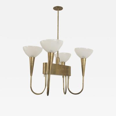 Venini Italian 1940s Brass Chandelier