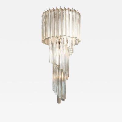 Venini Italian Modern Tiered Prism Venini Nickel Crystal Chandelier