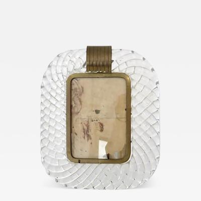 Venini Italian Murano Torciglione Glass Photo Grame with Clear Glass