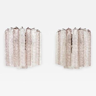 Venini Italian Pale Lavender Pink and Clear Tronchi Murano Glass Sconces by Venini