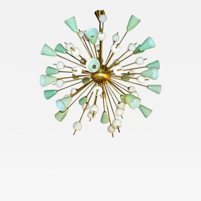 Venini Italian White and Mint Green Murano Glass Sputnik Brass Chandelier