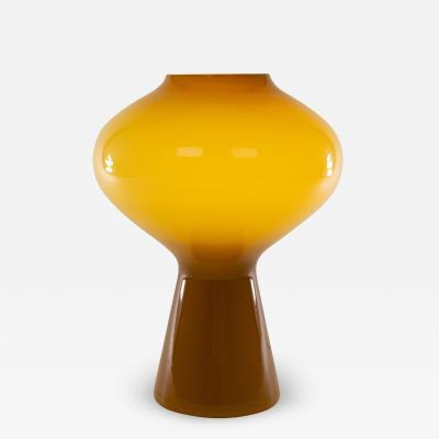Venini Large Amber hand blown Fungo table lamp by Massimo Vignelli for Venini 1950s