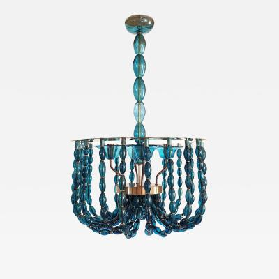 Venini Large Blue Murano glass chandelier Mid Century Modern Venini style 1960s