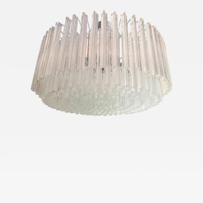 Venini Large Drum Triedri Murano glass Mid Century Modern chandelier flush mount Venini