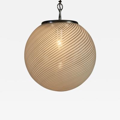 Venini Large Italian Murano glass ball pendant in the style of Venini