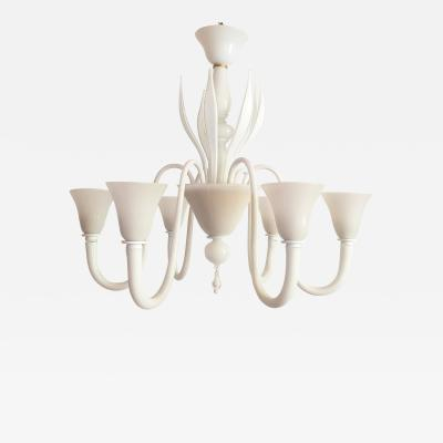 Venini Large Mid Century Modern 6 lights milk Murano glass chandelier by Venini
